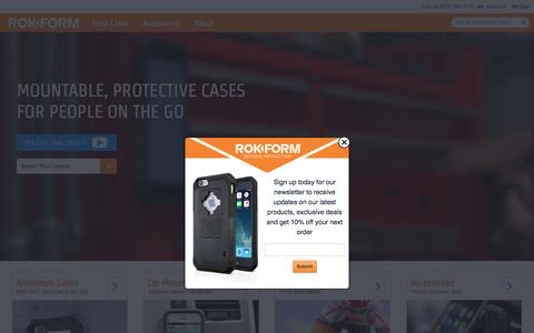 Screenshot of Home Page rokform.com - Shop Mountable, Protective cases and Accessories for Apple iPhone and Samsung. - captured Feb. 16, 2016