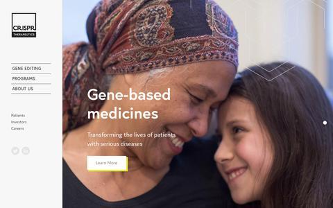 Screenshot of Home Page crisprtx.com - Home Page | CRISPR - captured Nov. 3, 2018