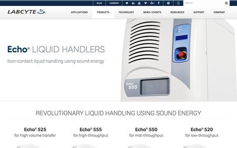 Screenshot of Products Page labcyte.com - Echo Acoustic Liquid Handlers   Labcyte Inc. - captured Jan. 12, 2018