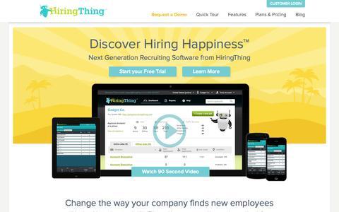 Screenshot of Home Page hiringthing.com - HiringThing - captured July 3, 2015