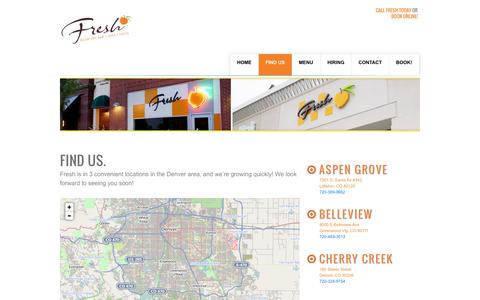 Screenshot of Locations Page myfreshplace.com - Fresh Salon Locations - Find Us!Fresh Nail, Wax & Dry Bar - captured Oct. 6, 2014