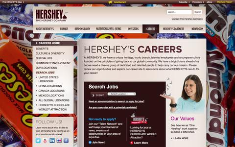 Screenshot of Jobs Page thehersheycompany.com - The Hershey Company | Careers and Job Opportunities - captured Oct. 30, 2014