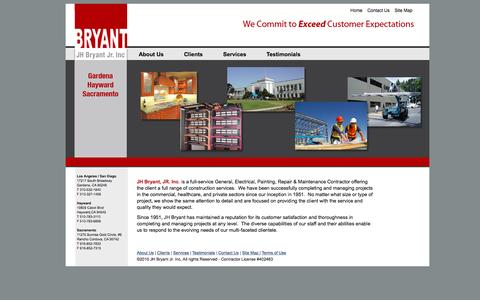 Screenshot of Home Page jhbryant.com - J.H. Bryant Construction» - captured Feb. 3, 2016