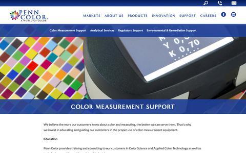Screenshot of Support Page penncolor.com - Penn Color| Color Measurement Support - captured Sept. 27, 2018