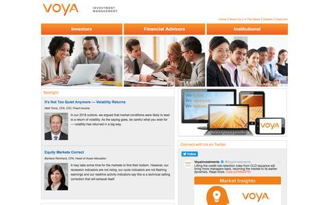 A Reliable Partner Committed to Reliable Investing - Voya Investment Management