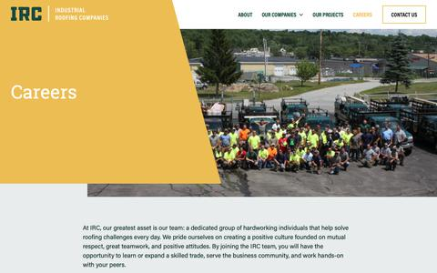 Screenshot of Jobs Page ircmaine.com - Careers | Industrial Roofing Companies | MA & ME - captured Oct. 2, 2018