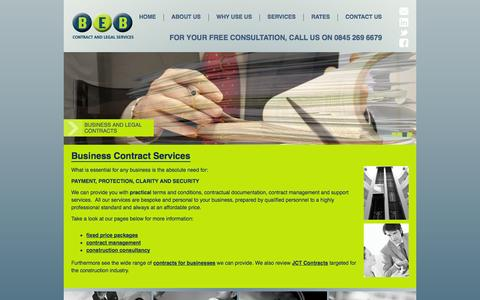 Screenshot of Services Page bebconsultancy.co.uk - Business Contracts Services Northampton - captured Oct. 5, 2014