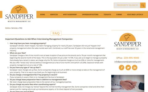 Screenshot of FAQ Page yoursandpiperrealty.com - FAQ | Sandpiper Realty & Management, LLCSandpiper Realty and Management, LLC - captured Nov. 18, 2016