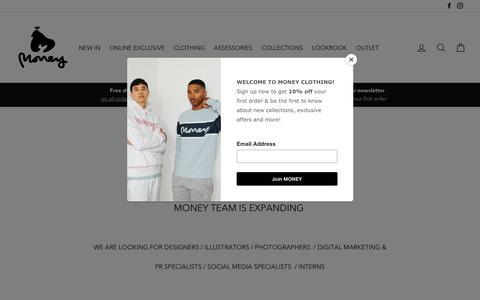 Screenshot of Jobs Page moneyclothing.com - Careers – MONEY - captured June 21, 2019