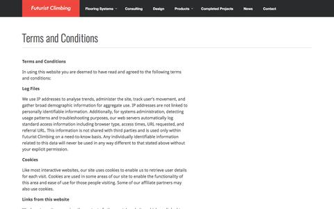 Screenshot of Terms Page futuristclimbing.com - Terms and Conditions - Futurist Climbing - captured Oct. 14, 2017