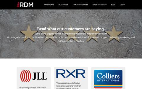 Screenshot of Testimonials Page rdm1.com - RealAccess: One Screen Experience by Real Data Managment - captured Oct. 18, 2018