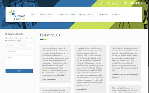 Screenshot of Testimonials Page summitlawllp.co.uk - Testimonials - Summit Law LLP - captured June 19, 2017