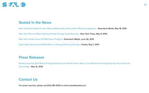 Screenshot of Press Page sealed.com - News — Sealed - captured May 9, 2017