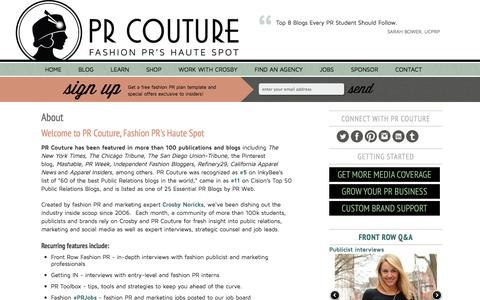 Screenshot of About Page prcouture.com - Fashion PR Blog PR Couture | PR Couture // Fashion PR - captured Oct. 28, 2014