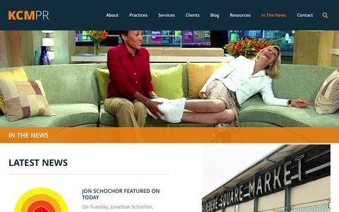 Screenshot of Press Page kcmpr.com - In the News | KCM PR - captured Sept. 30, 2014