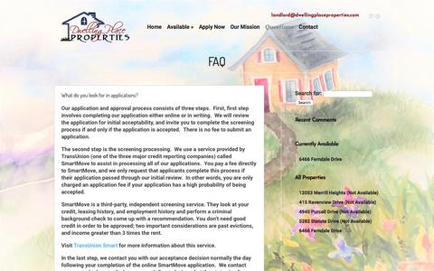 Screenshot of FAQ Page dwellingplaceproperties.com - FAQ | Dwelling Place Properties - captured Aug. 9, 2018