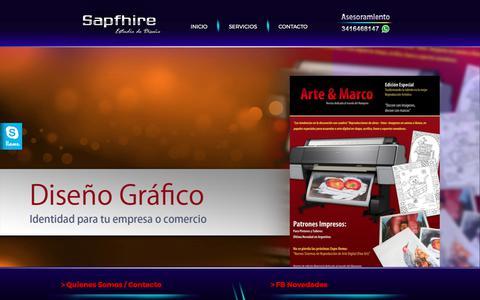 Screenshot of Home Page sapfhire.com.ar - Sapfhire Estudio - Diseño de Sitios Web - Promocion en Internet - Diseño Grafico e ilustración - Edicion de video - logotipos - Imagen Corporativa - Posicionamiento en Buscadores - Plantillas de Mercado Libre - Logotipos - Afiches y Folleteria - Radi - captured Sept. 29, 2017