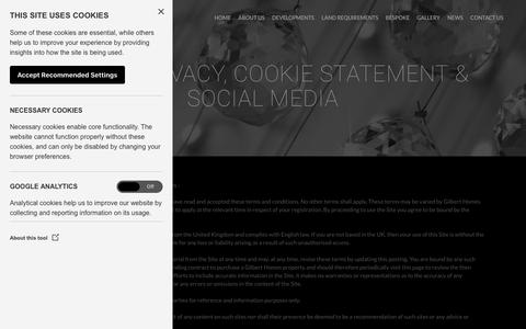 Screenshot of Privacy Page gilberthomes.co.uk - Gilbert Homes |   Legal, Privacy, Cookie Statement & Social Media - captured July 19, 2018
