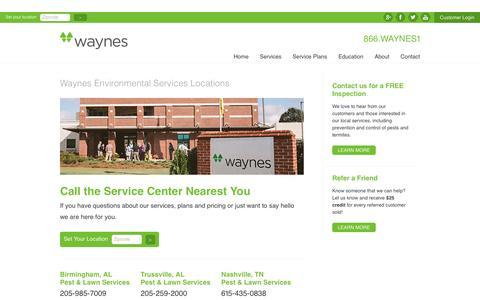 Screenshot of Locations Page callwaynes.com - Waynes Locations - captured Nov. 29, 2016