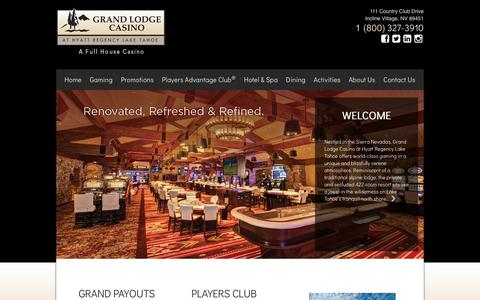 Screenshot of Home Page grandlodgecasino.com - Grand Lodge Casino at Hyatt Regency Lake Tahoe - A Full House Casino - captured July 22, 2018
