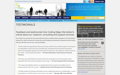 Screenshot of Testimonials Page cuttingedgeinfo.com - Testimonials About our Research - captured Sept. 13, 2014