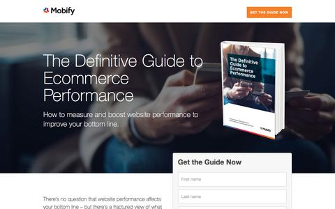 Screenshot of Landing Page mobify.com - The Definitive Guide to Ecommerce Performance - captured April 8, 2018