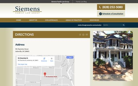 Screenshot of Maps & Directions Page wnclaw.com - Directions   Siemens Family Law Group - captured Oct. 20, 2017