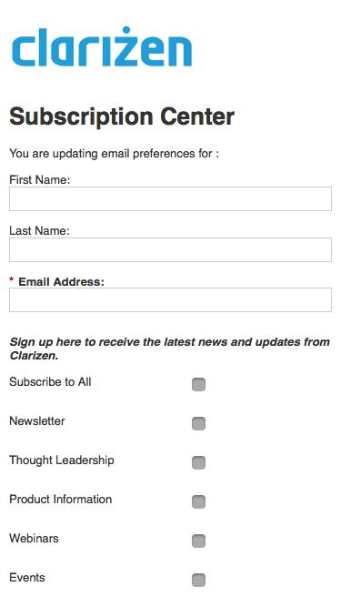 Clarizen Email Preference Center