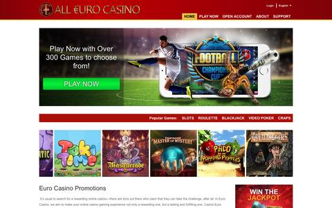 Screenshot of Home Page alleurocasino.com - Euro Casino now gives you 100% Deposit and 25 FREE Spins - captured Nov. 11, 2016