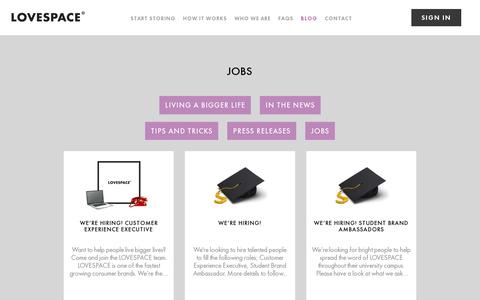 Screenshot of Jobs Page lovespace.co.uk - Jobs | LOVESPACE - captured July 18, 2014