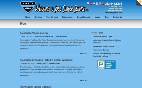 Screenshot of Blog joesslingerservice.com - Blog | Joe's Slinger Service - captured Oct. 6, 2014