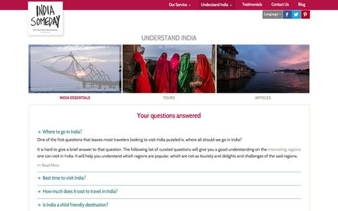 Screenshot of FAQ Page indiasomeday.com - India Someday FAQ's | Quick tips for India Travel | India travel tips - captured Jan. 8, 2016