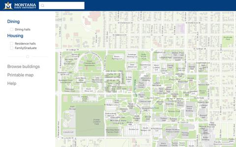 Screenshot of Maps & Directions Page montana.edu - Campus Map | Montana State University - captured Nov. 10, 2018