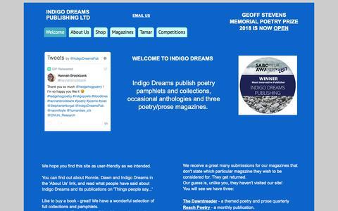 Screenshot of Home Page indigodreams.co.uk - Welcome - Indigo Dreams - captured Nov. 26, 2018