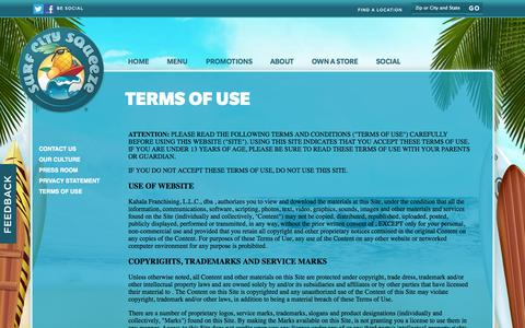 Screenshot of Terms Page surfcitysqueeze.com - Surf City Squeeze  About Us  Term - captured Oct. 7, 2014