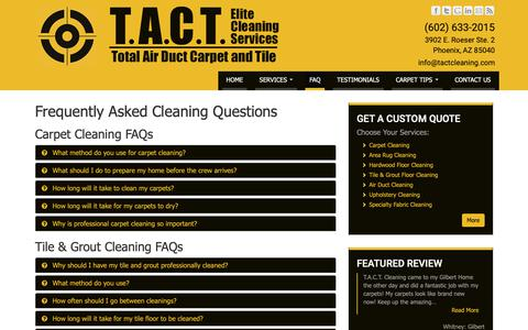 Screenshot of FAQ Page carpetcleaningserviceaz.com - Frequently Asked Questions | T.A.C.T. Cleaning - captured Oct. 27, 2018