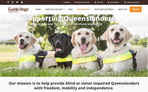 Screenshot of Services Page guidedogsqld.com.au - Our Services - Guide Dogs Queensland - captured Sept. 30, 2018
