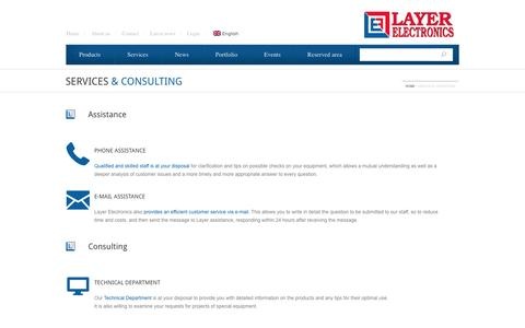 Screenshot of Services Page layer.it - Services & Consulting - Layer Electronics s.r.l.Layer Electronics s.r.l. - captured Sept. 26, 2016