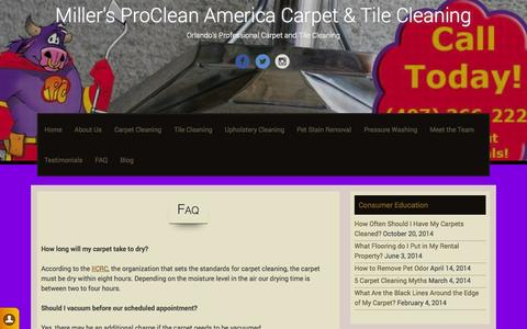 Screenshot of FAQ Page procleanamericaorlando.com - FAQ | Miller's ProClean America Carpet & Tile Cleaning - captured Oct. 27, 2014