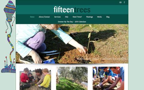 Screenshot of Home Page 15trees.com.au - fifteen trees Home - fifteen trees - captured Jan. 26, 2015