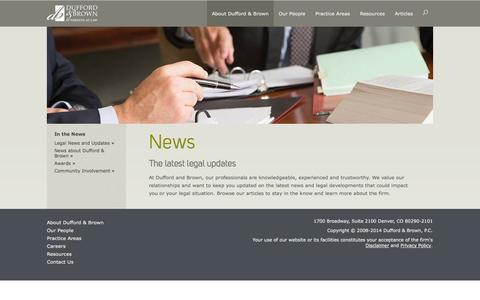 Screenshot of Press Page duffordbrown.com - In the News - Dufford & Brown - captured Oct. 6, 2014