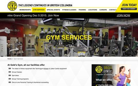 Screenshot of Services Page goldsgymbc.ca - Gym Services Vancouver, Gym Services Langley | Golds Gym - captured Dec. 12, 2015