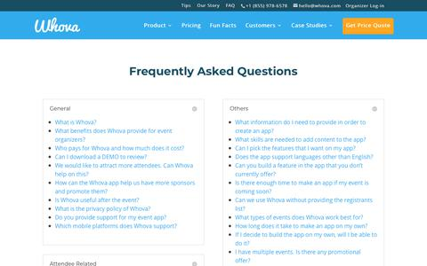 Screenshot of FAQ Page whova.com - Frequently Asked Questions | Whova - captured Jan. 23, 2018