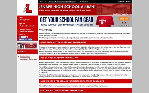Screenshot of Privacy Page lenapealumni.org - Lenape High School Alumni - Privacy Policy - captured Dec. 28, 2017