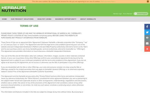 Herbalife - United Kingdom - Terms Of Use - Herbalife UK