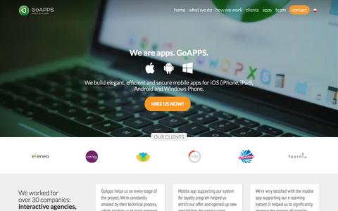 Screenshot of Home Page goapps.io - GoAPPS - offshore your mobile apps development now! - captured Sept. 19, 2015