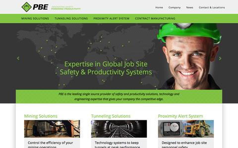 Screenshot of Home Page pbegrp.com - The single source provider of technology & expertise for safety and productivity systems for mining and tunneling | The PBE Group - captured Oct. 1, 2014
