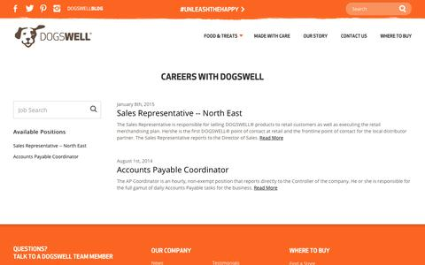 Screenshot of Jobs Page dogswell.com - Rewarding Career Opportunities at Dogwell - captured Aug. 2, 2016