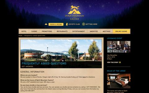 Screenshot of FAQ Page spiritmountain.com - Frequently Asked Questions about Casinos | Spirit Mountain Casino - captured Sept. 23, 2014