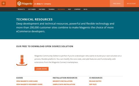 Screenshot of Developers Page magento.com - Ecommerce Technology & Technical Resources | Magento.com - captured July 20, 2014
